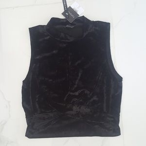 Topshop Black Velvet knot crop top NWT